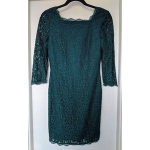 Adrianna Papell Dark Emerald Green Lace Dress 6P